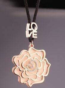 Gold Glaze Diamond Hollow Flower Necklace
