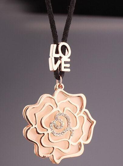 Gold Glaze Diamond Hollow Flower Necklace