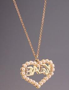 Gold Hollow Heart Pearls Necklace