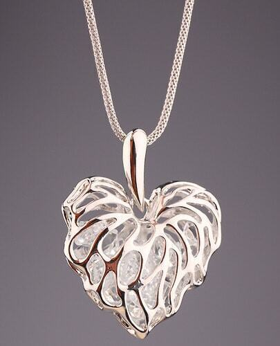 Silver Hollow Leaf Necklace