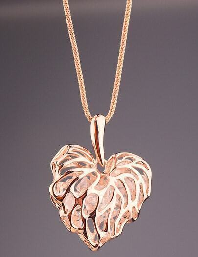 Gold Hollow Leaf Necklace