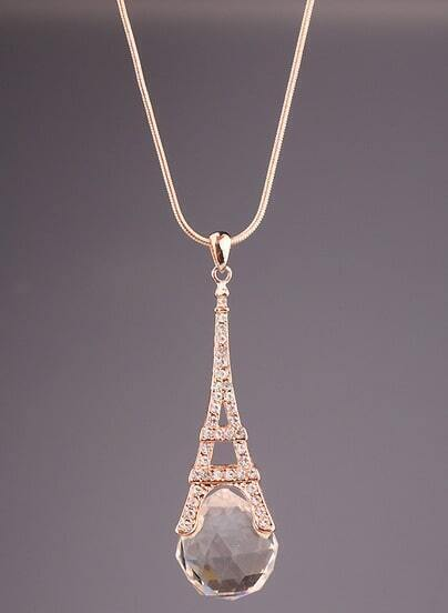 Gold Diamond Eiffel Tower Necklace