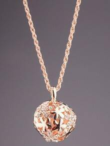 Gold Diamond Hollow Ball Necklace