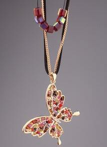 Multicolor Bead Gold Butterfly Necklace