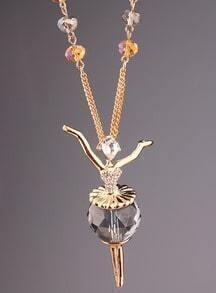 Gold Diamond Ballet Girl Necklace