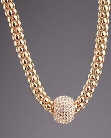 Gold Diamond Ring Hollow Necklace