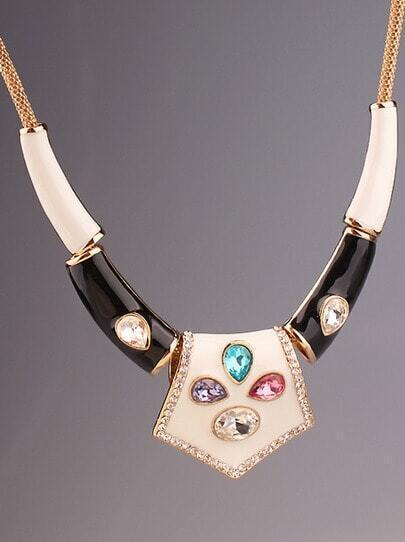 Multicolor Gemstone Glaze Gold Necklace