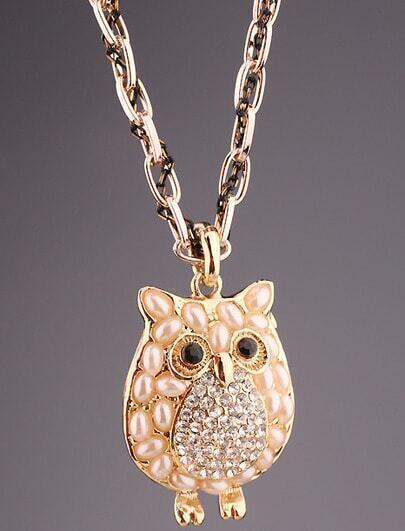 Gold Pearls Diamond Owl Necklace