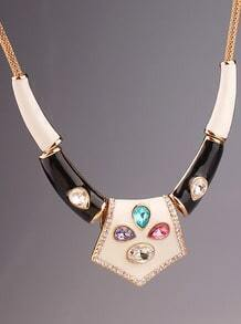 Multicolor Gemstone Glaze Gold Necklace