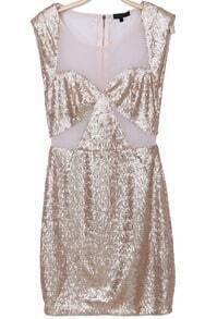 Beige Short Sleeve Sequined Bodycon Dress