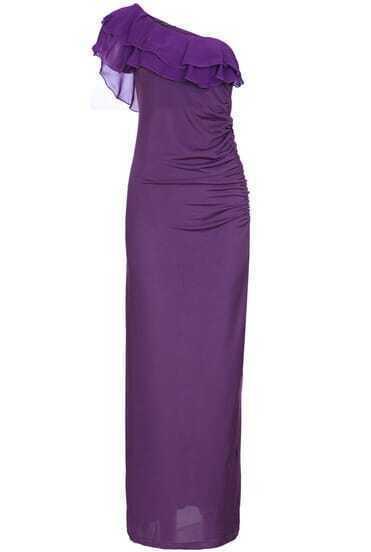 Purple One Shoulder Ruffle Slim Full Length Dress