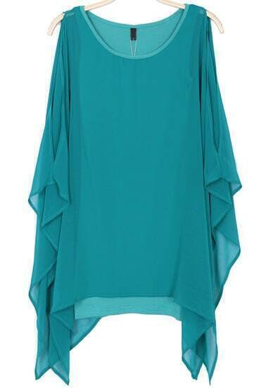 Green Cape Long Sleeve Chiffon Dress