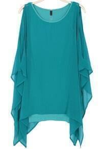 Green Cape Long Sleeve Chiffon Dress