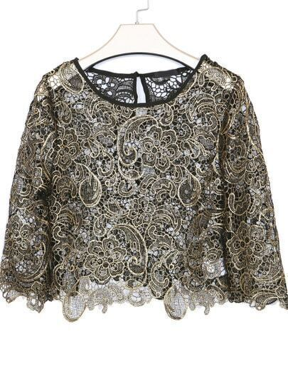 Black Round Neck Hollow Embroidered Crop Blouse