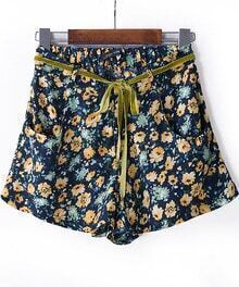 Blue Belt Floral Straight Shorts
