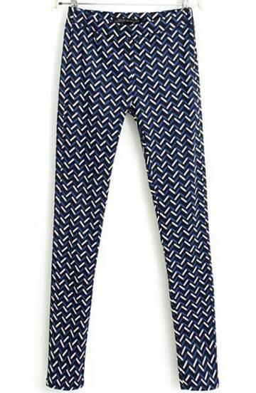 Blue Zigzag Print Slim Pant