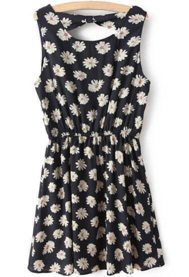 Navy Sleeveless Floral Bowknot Back Pleated Dress