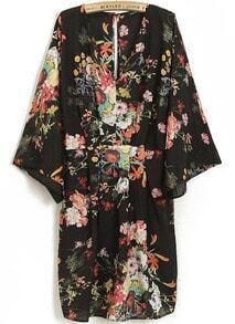 Black V Neck Long Sleeve Floral Dress