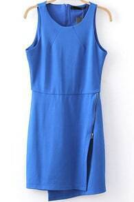 Blue Sleeveless Oblique Zipper Bodycon Dress