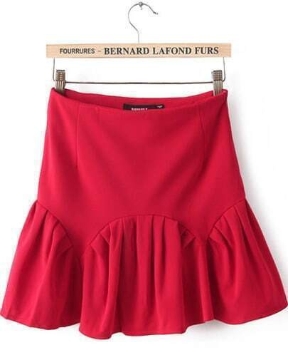 Red High Waist Ruffle Bodycon Skirt