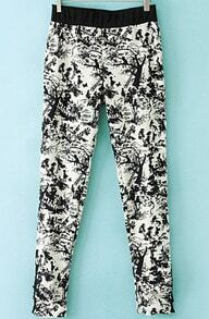 Black White Ink Print Slim Leggings