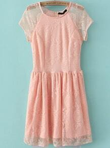 Pink Short Sleeve Pleated Lace Dress