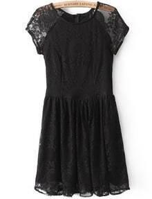 Black Short Sleeve Pleated Lace Dress