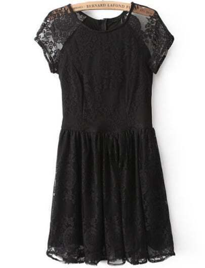 Black Short Sleeve Pleated Lace Dress