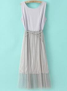 Grey Sleeveless Contrast Gauze Pleated Dress