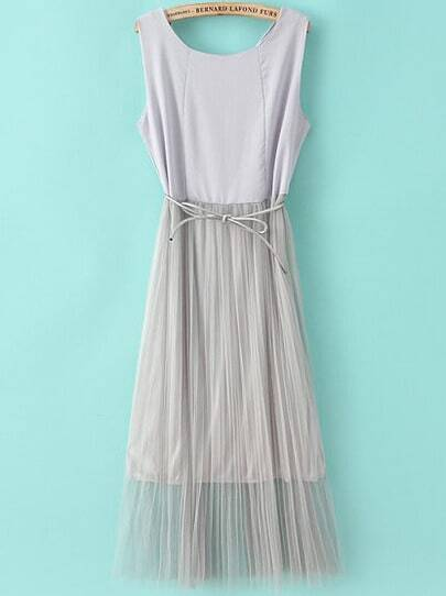 Grey Sleeveless Contrast Gauze Pleated Dress