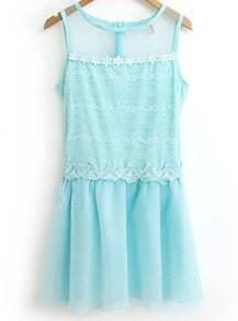 Blue Sleeveless Contrast Lace Pleated Dress