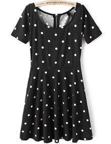 Black Short Sleeve Polka Dot Pleated Dress
