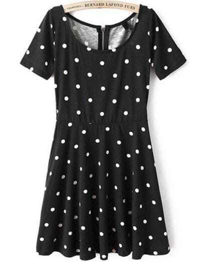 Black Short Sleeve Polka Dot Pleated Dress