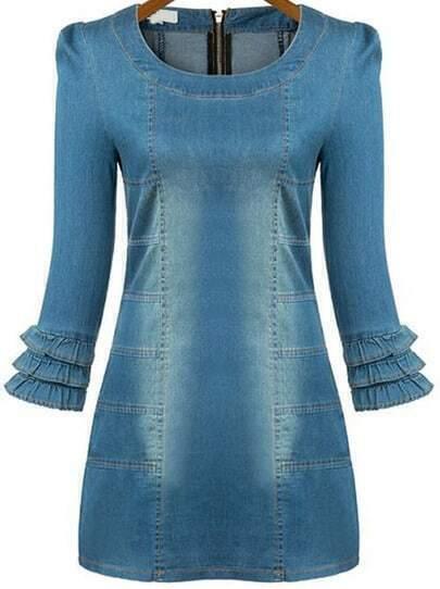 Blue Ruffle Sleeve Bleached Bodycon Denim Dress