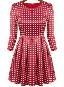 Red Round Neck Plaid Pleated Dress
