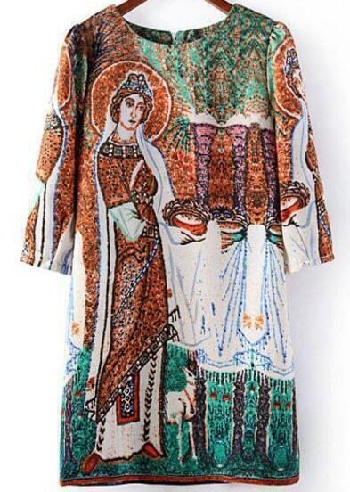 Green Half Sleeve Vintage Print Dress