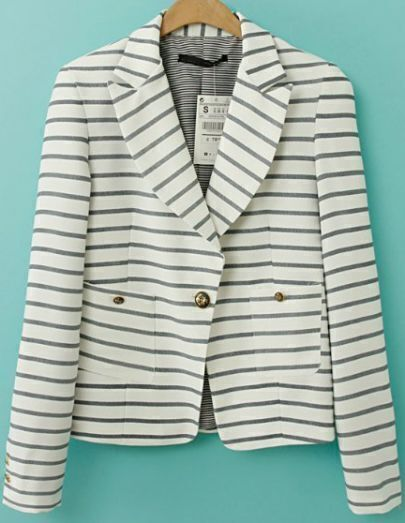 White Long Sleeve Striped Buttons Blazer