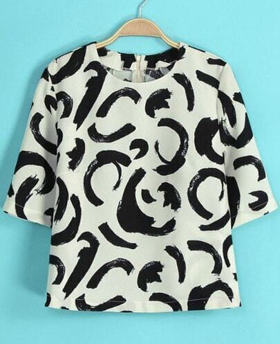 White Short Sleeve Graffiti Print T-Shirt