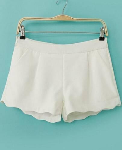 White Zigzag Trims Straight Shorts