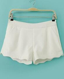 White Zigzag Trims Straight Shorts