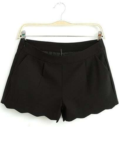Black Zigzag Trims Straight Shorts