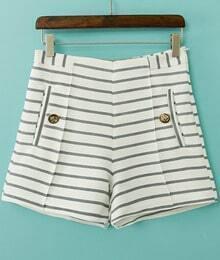 White Striped Button Pockets Shorts