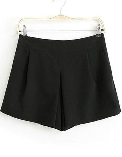 Black Casual Straight Shorts