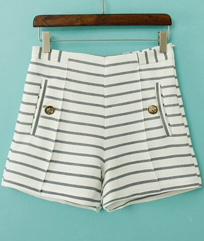 White Striped Button Pockets Shorts