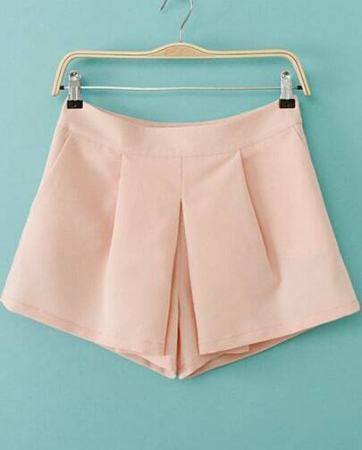 Pink Casual Straight Shorts