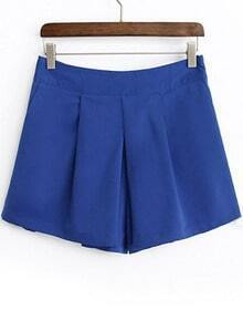 Blue Casual Straight Shorts