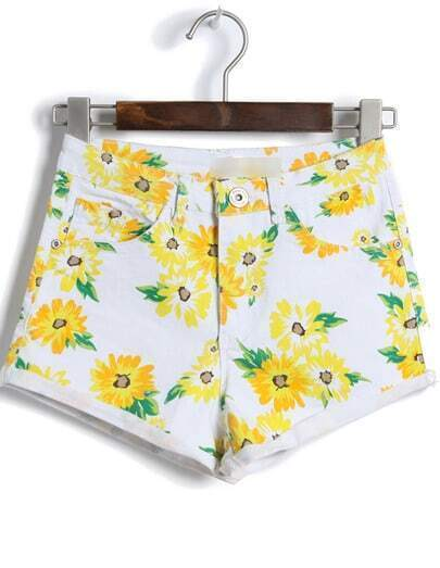 White High Waist Daisy Print Shorts