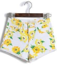White High Waist Daisy Print Shorts