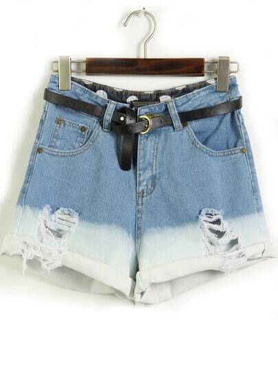 Blue Flange Pockets Ripped Denim Shorts