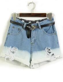 Blue Flange Pockets Ripped Denim Shorts